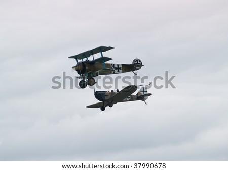 stock photo : First World War fighter planes in reenactment battle
