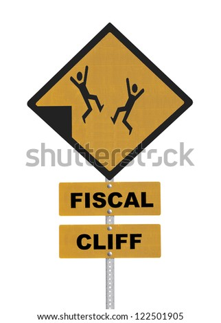 Fiscal cliff people falling warning sign isolated.
