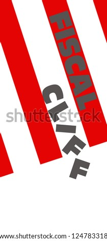 fiscal cliff words against USA flag stripes with letters falling