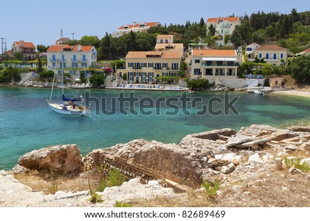 Fiscardo traditional village at Kefalonia island in Greece