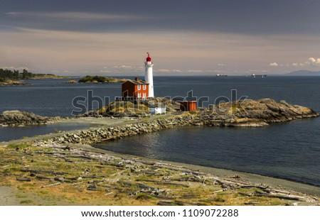 Fisgard Lighthouse and Scenic Landscape View across Juan De Fuca Strait near Victoria, British Columbia Canada  #1109072288