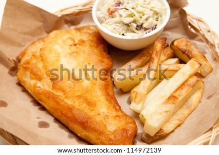 fish and chips, a classic diner meal. This fresh haddock fillet is coated with batter and deep fried with home made french fries and coleslaw.