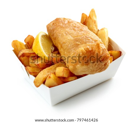 Fish and Chips box isolated on white background Stock photo ©