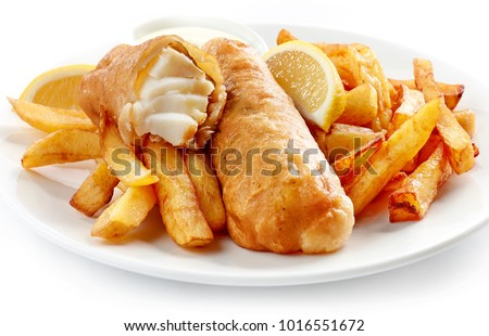 Fish and Chips closeup on white plate