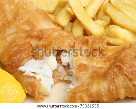Fish and chips meal.