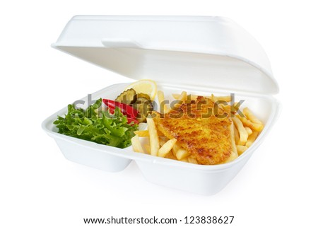 Fish and chips portion from fast food service , isolated on white