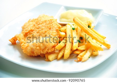 Fish and chips served with mayo