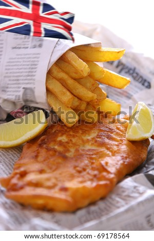 Fish and chips takeout, british cuisine - stock photo
