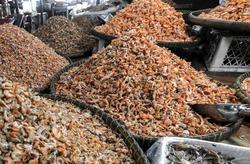 Fish and shelf fish at the Crab market in Kempot Cambodia