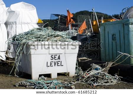 Fish are gone - fishing equipment stored in Garibaldi, Oregon