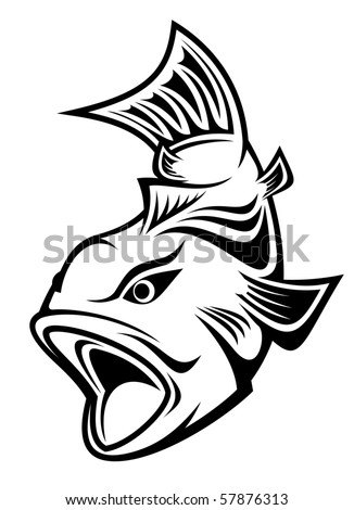 Fish as a fishing symbol - also as emblem or logo template. Vector version also available