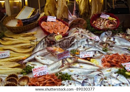 Fish at the market in Genova, Italy