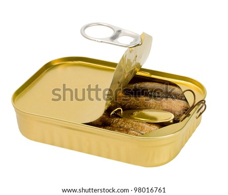 fish bait in open sardine can isolated on white background