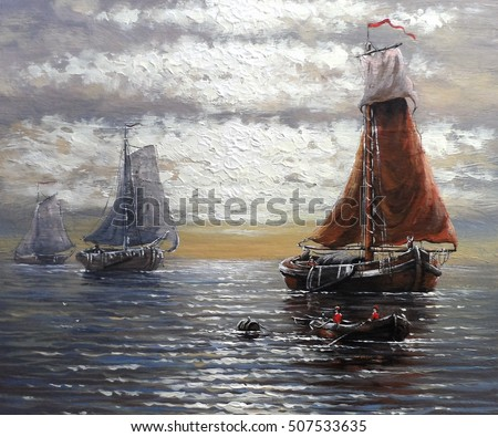 Fish boat painting,fisherman  oil,art, old masters