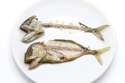 Fish bones of mackerels in white plate in abstract hunger food.