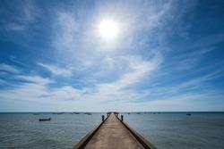 Fish Bridge with endless horizon at chanthaburi thailand.