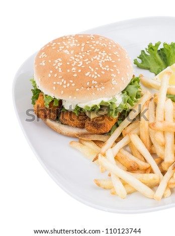 Fish Burger with Chips isolated on white background