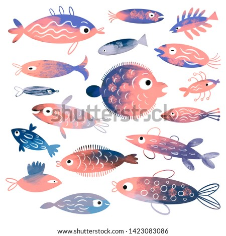 Fish collection, Fish collection, big set fantasy stylized sea creatures on white background