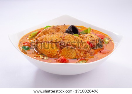 Fish curry_Seer fish curry ,traditional Indian fish curry ,kerala  special dish using coconut ,arranged in a white bowl garnished with curry leaves and Malabar tamarind on white textured background