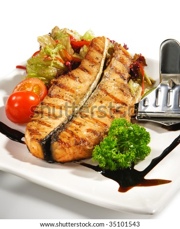 Fish Dishes - Salmon Steak with Vegetable