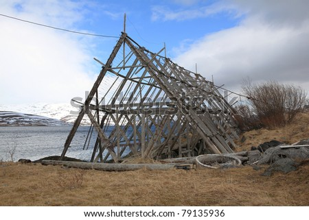 Fish drying racks in the north of Norway