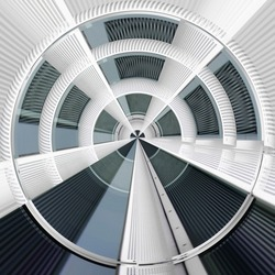 Fish eye 360 degrees photo of blinds resembling dome, ceiling or roof of hi-tech building. Concentric structure. Abstract modern architecture. Hi-tech geometric background. Round and radial pattern.