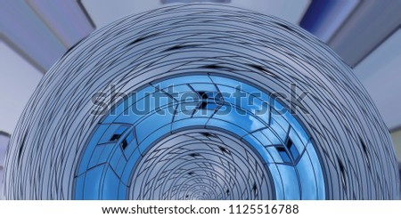 Fish eye photo of transparent wall fragment resembling domed roof. Abstract modern architecture reflecting blue sky. Unusual circular glass structure.