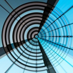 Fish-eye photo of windows resembling target, darts and dome roof. Abstract modern hi-tech architecture, technology or industry. Concentric structure. Geometric background with round and radial pattern