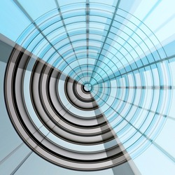 Fish-eye photo of windows resembling target, darts or domed roof. Abstract modern architecture, technology or industry. Concentric structure. Geometric background with round and radial pattern.