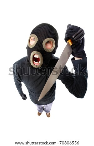 Fish-eye shot of a criminal in mask holding knife