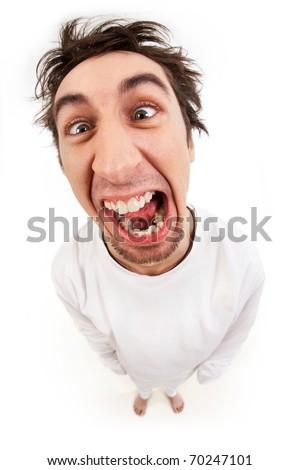 Fish eye shot of screaming insane man in strait-jacket in isolation Stock fotó ©