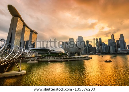 Fish eye view of singapore city skyline at sunset 135576233