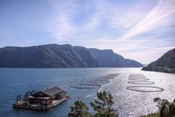 Fish farming on the Norwegian fjord