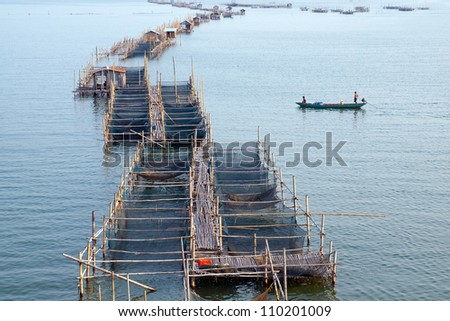 Fish farms in chanthaburi,Thailand.