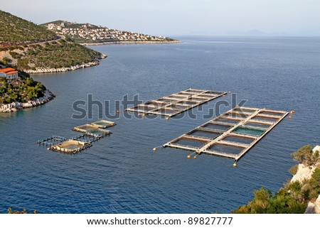 Fish farms in Peloponesse, Greece - stock photo