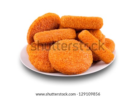Fish fingers and fishcake burgers on a plate