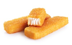 Fish fingers sticks isolated on white background. With clipping path.