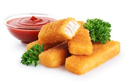 Fish fingers sticks with parsley and ketchup isolated on white background. With clipping path.
