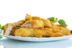 Fish fried in batter on a white background