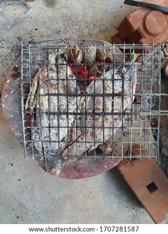 Fish grilled on charcoal grill.  2 grilled fish and shellfish on a charcoal grill. Grilling tilapia. Salt grilled fish.