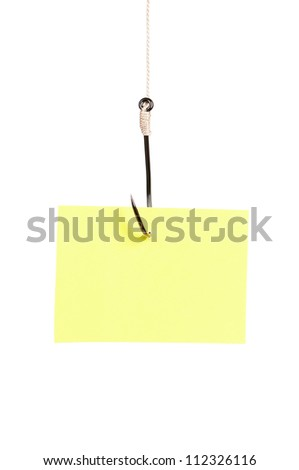 Fish hook with blank note paper isolated on white background - stock