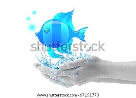 Fish In Hand with water drops, see i different color in my portfolio