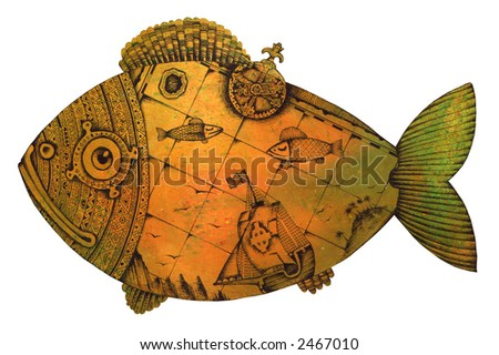 Fish in the form of an ancient map or an engraving. Illustration by Eugene Ivanov.