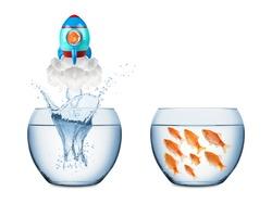 fish leaving fish bowl with rocket