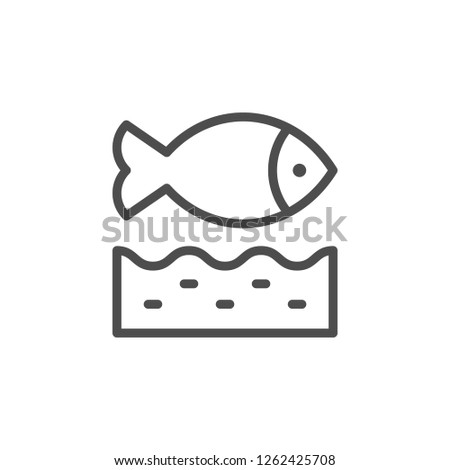 Fish line icon isolated on white