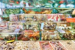 Fish, lobsters, crabs and other mollusk seafood are crammed into fish tanks at the seafood market in Sai Kung, Hong Kong. Sai Kung village is famous for its floating fish market.