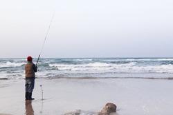 fish man on the beach