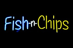 Fish-n-Chips neon sign isolated on black background
