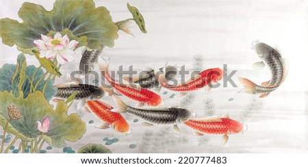 fish of asian ink and wash painting.