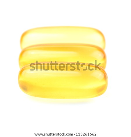 Fish oil capsule isolated on white.